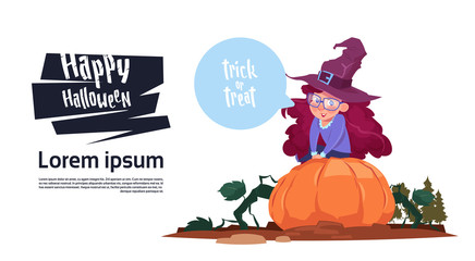 Cute Kid Wear Witch Costume Sit On Pumpkin, Happy Halloween Banner Party Celebration Concept Flat Vector Illustration