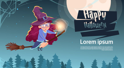 Cute Witch Fly On Broom Stick, Happy Halloween Banner Party Celebration Concept Flat Vector Illustration