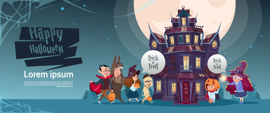 Happy Halloween Cute Monsters Walking To Gothic Castle With Ghosts Holiday Greeting Card Concept Flat Vector Illustration