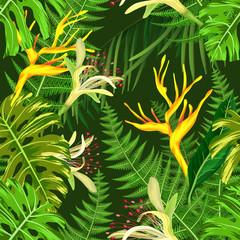 Seamless pattern with tropical hawaiian flowers