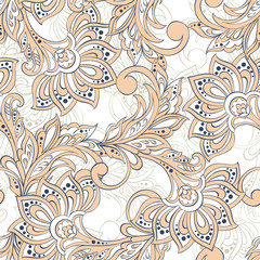 Asian floral vector illustration for textile