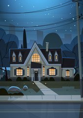 House Building Night View Suburb Of Big City, Cottage Real Estate Cute Town Concept Flat Vector Illustration