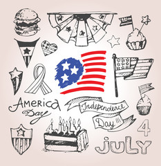 Happy Independence day of America card vector. 4th of July. Vector illustration.