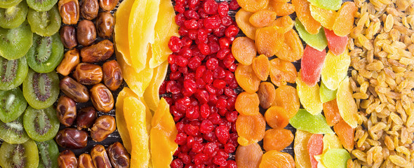 Fotorolgordijn Vruchten Mix of dried and candied fruit