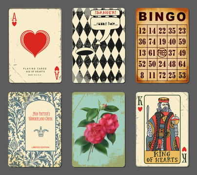 Wonderland Playing Cards - Set of whimsical playing cards inspired by Alice in Wonderland
