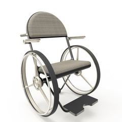 Wheelchair front view, isolated on a white background. 3d render transportable wheelchair.