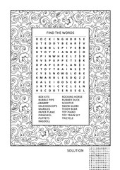 Puzzle and coloring activity page for grown-ups with themed word search puzzle (English) and wide decorative frame to color. Family friendly. Answer included.