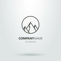 Black and white geometric logo of mountains
