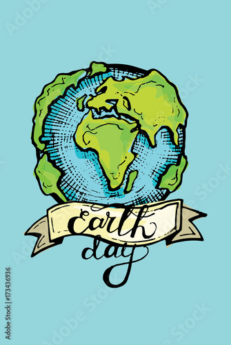 Save Earth Or Go Green Earth Symbol Concept Vector Cartoon Vector