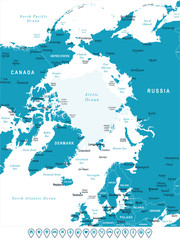 Arctic Region Map - Vector Illustration