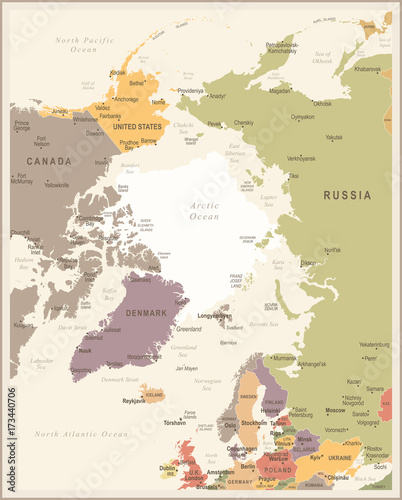 arctic region map vintage vector illustration fotolia com の