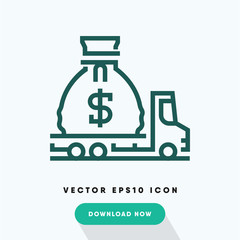 Moving money icon, belongings symbol. Modern, simple flat vector illustration for web site or mobile app