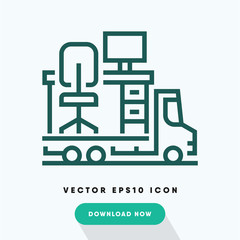 Office moving icon, relocation symbol. Modern, simple flat vector illustration for web site or mobile app