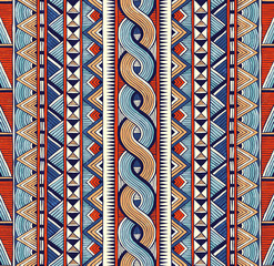 Tribal seamless ornament. Colorful abstract background in african style. Hand drawn vector illustration EPS 10.