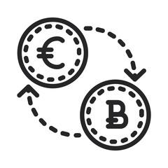 Euro to bitcoin vector icon