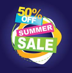 Big mega grand summer sale banner. Vector illustration.