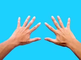 left hand and right hand isolated on blue background Wall mural