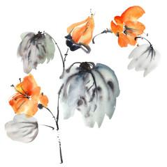 Watercolor painted flower