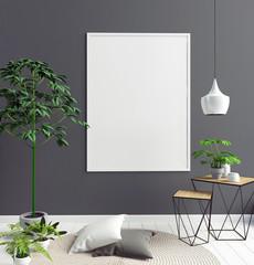 Modern interior of Scandinavian style. 3D illustration. poster mock up