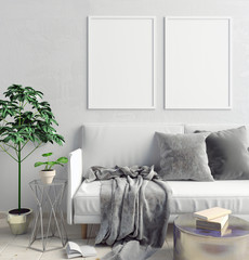 Modern interior of Scandinavian style. 3D illustration. poster mock up