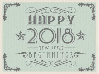 2018 Happy new year  vintage retro