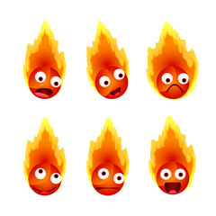 Set of fire's face emotions, vector illustration
