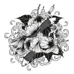 Koi fish and Hibiscus tattoo by hand drawing.Tattoo art highly detailed in line art style.