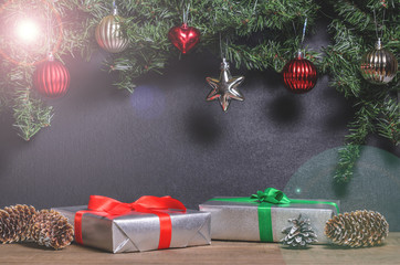 Christmas, New Year presents under the tree with free space for text close up