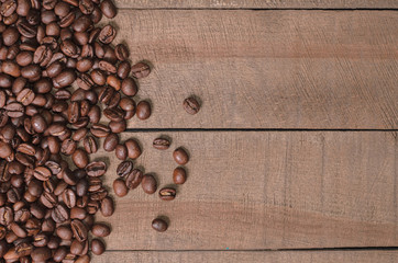 Frame of coffee beans with free space for text top view