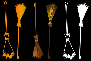 Halloween witches broomstick, Witches broom illustration vector