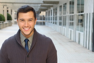 Classically good looking male isolated in office space with copy space