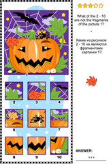 Halloween themed visual logic puzzle with pumpkin, bats and spider: What of the 2 - 10 are not the fragments of the picture 1?  Answer included.
