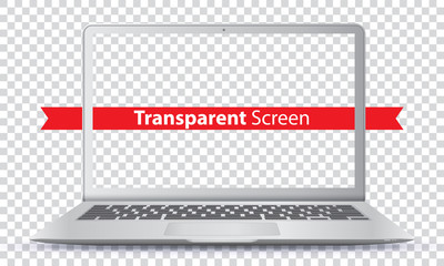 Laptop Vector Illustration with Transparent Screen.