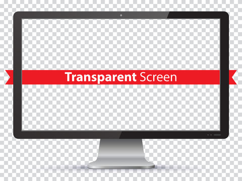 Computer Monitor Vector Illustration with Transparent Screen.