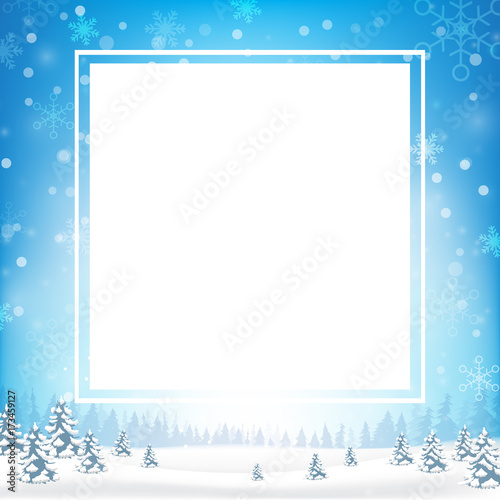 Blank rectangle frame with copy space and winter snow flake falling ...