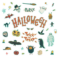Illustration of Brand Identity for Halloween Promotion on white