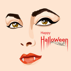 Happy Halloween card. Pretty woman's face with scary vampire fangs. Happy Halloween lettering with spider web. Vector Illustration
