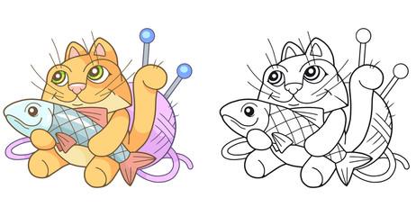 cartoon funny cat with fish