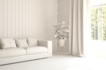 White minimalist room with sofa. Scandinavian interior design. 3D illustration
