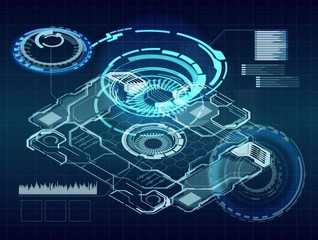 Abstract digital interface on dark background. Technology, innovation and analytics concept. 3D Rendering
