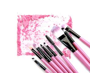 Pink powder and blush set on white background