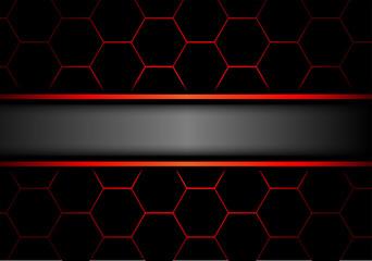 Gray banner on black hexagon mesh red line design modern luxury futuristic background vector illustration.