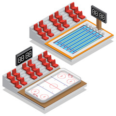 Hockey stadium and swimming pool. Isometric. Vector illustration