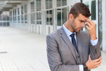 Businessman having a major dilemma