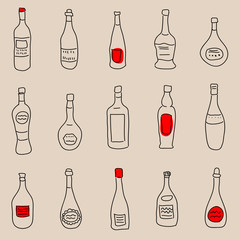 Vintage seamless background with different bottles of drinks