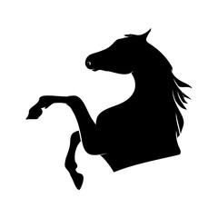 Silhouette horse on white background, vector illustration