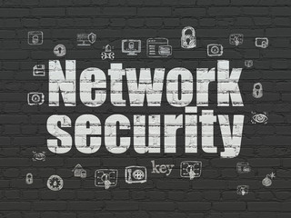 Protection concept: Network Security on wall background