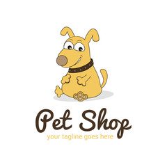 Vector logo template for pet shop,  veterinary clinic. Creative  logotype idea for animal feed. Illustration of dog, cartoon-style.