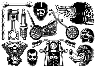 Motorcycle clipart with 12 elements on white background