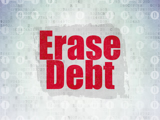 Finance concept: Erase Debt on Digital Data Paper background
